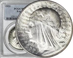 10 złotych 1933, Głowa, mennicza, WSPANIAŁA