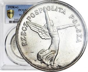 R-, 5 złotych 1928 Nike, ze znakiem bardziej oddalonym od stopy, WYŚMIENITA