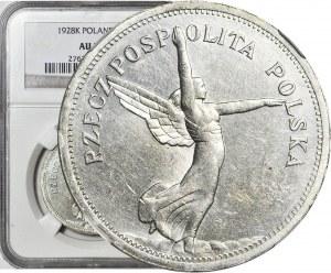 5 złotych 1928 Nike, Bruksela, bez znaku, piękna