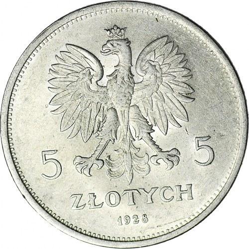 5 złotych 1928 Nike, ze znakiem, Warszawa, piękna