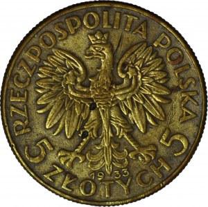 5 złotych 1933, fałszerstwo z epoki, mosiądz