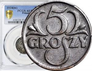 5 groszy 1934, piękne, kolor BN, rzadkie