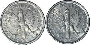 2 szt. zestaw 1 złoty 1924 Żniwiarka Paryż i 1925 Londyn