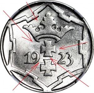 RR-, Wolne Miasto Gdańsk, 10 fenigów 1923, MINT ERROR, OBUSTRONNY DUCH
