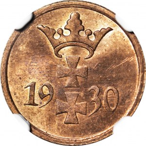 Wolne Miasto Gdańsk, 1 fenig 1930, menniczy, kolor RB