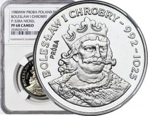 50 złotych 1980, PRÓBA NIKIEL, Chrobry, rzadki stempel lustrzany PF (zamiast MS)