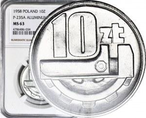 RRR-, 10 złotych 1958 PRÓBA Aluminium (nikiel był bity w 1960) Klucz francuski, PIERWSZY RAZ NA RYNKU