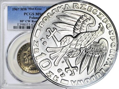 R-, 10 Złotych 1967 Świerczewski, DESTRUKT, skrętka 80 stopni, rzadka