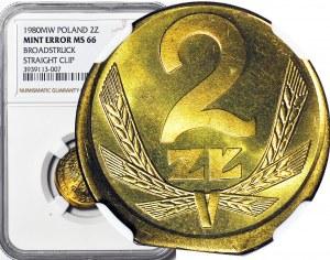 R- 2 złote 1980, podwójny DESTRUKT, niecentryczne bicie, końcówka blachy
