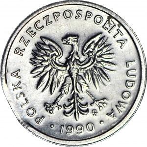 R-, 2 złote 1990, DESTRUKT, końcówka blachy, menniczy