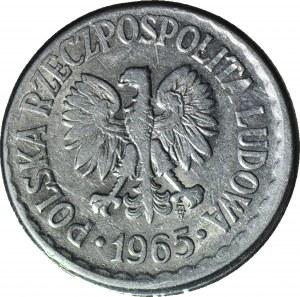 R-, 1 złoty 1965, wczesny rocznik, DESTRUKT, niecentryczne bicie, rant gładki
