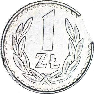R-, 1 złoty 1987, DESTRUKT, błąd wykrawania krążka, mennicze