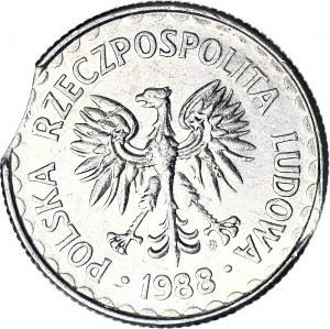 R-, 1 złoty 1988, DESTRUKT, błąd wykrawania krążka, mennicze