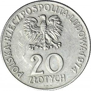 R-, 20 zł 1974 XXV lat RWPG, DESTRUKT, mocna SKRĘTKA 135 stopni, rzadkie