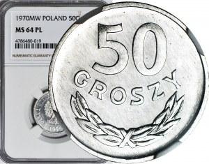 R-, 50 groszy 1970, najstarszy rocznik znany w PL, PROOFLIKE