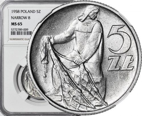 5 złotych 1958, Rybak, wąska 8, menniczy
