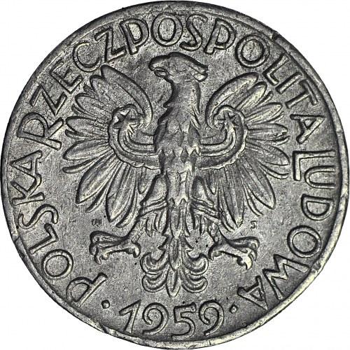 R-, 5 złotych 1959 Rybak, fałszerstwo z epoki w jasno-szarym stopie