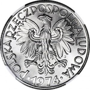 RR-, Rybak 5 złotych 1974, PŁASKA DATA