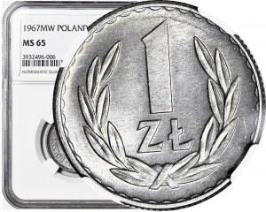 1 złoty 1967, rzadki rocznik, mennicze