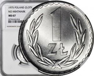 1 złoty 1975, bez znaku, mennicze