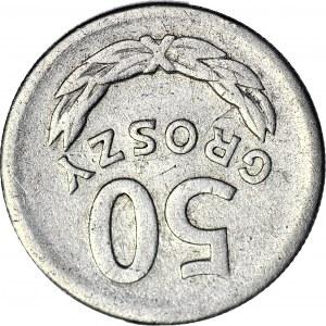 R-, 50 groszy 1968, rzadki rocznik, DESTRUKT, ODWROTKA 180 stopni