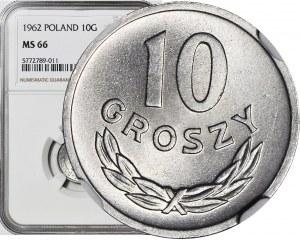 10 groszy 1962, wykruszenia stempla na awersie, mennicze