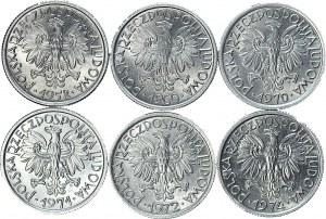 Zestaw 6 szt., 2 złote Jagody 1958-60-70-71-72-74r, mennicze