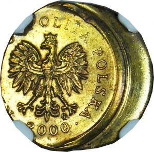RR-, 1 grosz 2000, mocno niecentryczne bicie, DESTRUKT