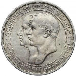 Niemcy, 3 marki 1911, Berlin, 100 lecie Uniwersytetu we Wrocławiu