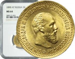 Rosja, Aleksander III, 5 rubli 1890, Petersburg, piękne