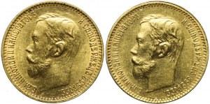 Rosja, Mikołaj II, Zestaw dwóch monet złotych 5 rubli, bardzo ładne