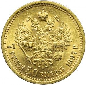 Rosja, Mikołaj II, 7 1/2 rubla 1897, Petersburg, mennicze