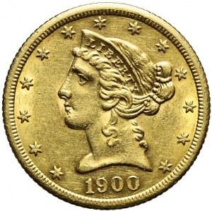 Stany Zjednoczone Ameryki (USA), 5 dolarów Liberty Head, 1900, San Francisco, bardzo ładne