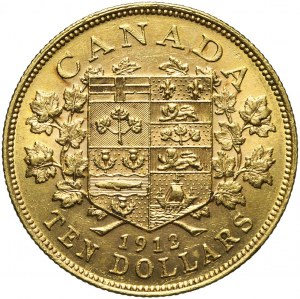 Kanada, Jerzy V, 10 dolarów 1912, złoto