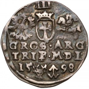 Zygmunt III Waza, Trojak Wilno 1598 - falista kryza - rzadki