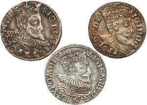 Zygmunt III Waza, Trojaki 1594-1599, w tym rzadki (3szt)