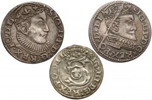 Zygmunt III Waza, Trojaki i szeląg Ryga 1589-1602 (3szt)