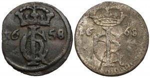 Jan II Kazimierz, Szelągi Gdańsk 1658 i Toruń 1668 (2szt)