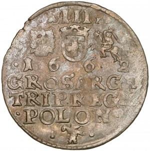 Jan II Kazimierz, Trojak Kraków 1662 AT - duże pop. - piękny