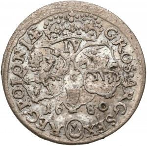 Jan III Sobieski, Szóstak Kraków 1680-C - w zbroi - IV - PIĘKNY