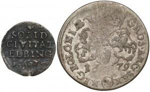 Jan III Sobieski, Szóstak 1679 i August III, Szeląg Elbląg 1763 (2szt)