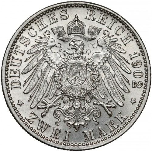 Niemcy, Badenia, 2 marki 1902 - 50-lecie panowania