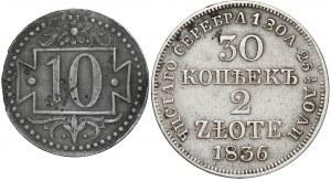 Zabory 2 złote 1836 MW i WMG 10 fenigów 1920 (2szt)