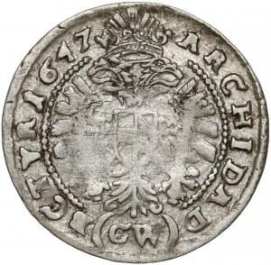 Śląsk, Ferdynand III, 3 krajcary 1647 GW, Kłodzko