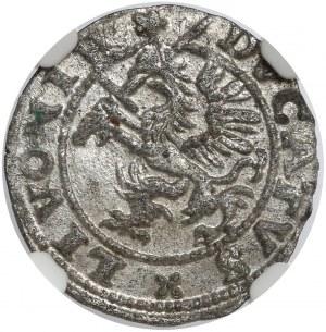 Inflanty, Szeląg Dahlen 1572 - krzyżyk - menniczy
