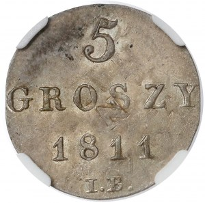 Księstwo Warszawskie, 5 groszy 1811 IB - piękna