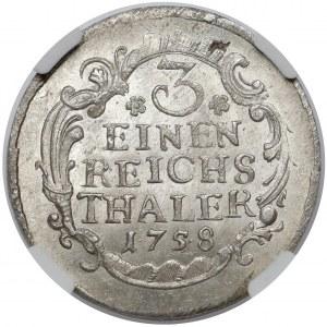 Germany, Preussen-Brandenburg, Friedrich II, 1/3 taler 1758, Dresden