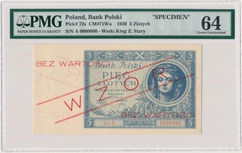 5 złotych 1930 - WZÓR - Ser.A 0000000