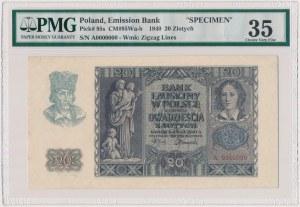 20 złotych 1940 - WZÓR - A 0000000