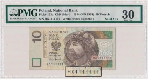 10 złotych 1994 - HX 1111111